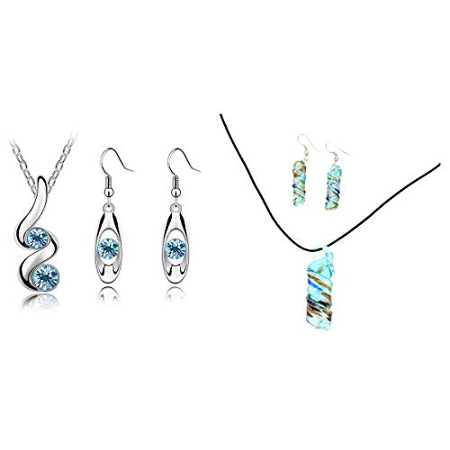 Nrpfell 2 Set Fashion Jewellery Sets Women's Hook Dangly Earrings & Pendant Necklace, A & B