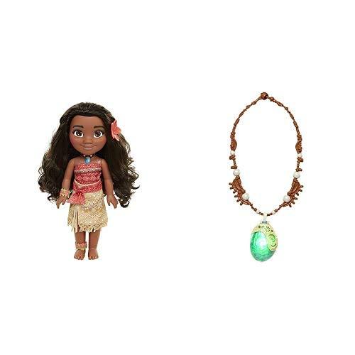 Glop Games Princesa Disney, muñeca Vaiana Detalle Fíjate en su Pelo, Vestido, Flor de Polinesia Toddler 35cm, 38 cm (04703) + Jakks Pacific Collar Mágico de Concha Marina Moana