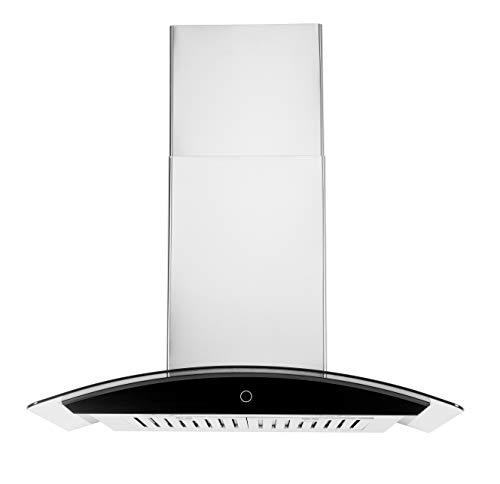 Hauslane | Chef Series Range Hood 30' WM-639 Wall Mount Range Hood | Contemporary Stainless Steel Tempered Glass Stove Ventilation | 3 Speed, Touch Control, Baffle Filters| Vented or Ductless