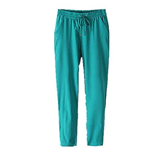 N\P Pantalones de gasa de cintura elástica con cordón de color sólido para mujer