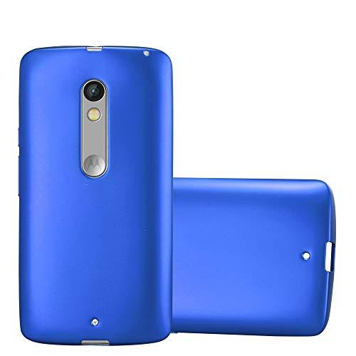 Cadorabo Hülle für Motorola Moto X Play in METALLIC BLAU - Handyhülle aus flexiblem TPU Silikon - Silikonhülle Schutzhülle Ultra Slim Soft Back Cover Hülle Bumper