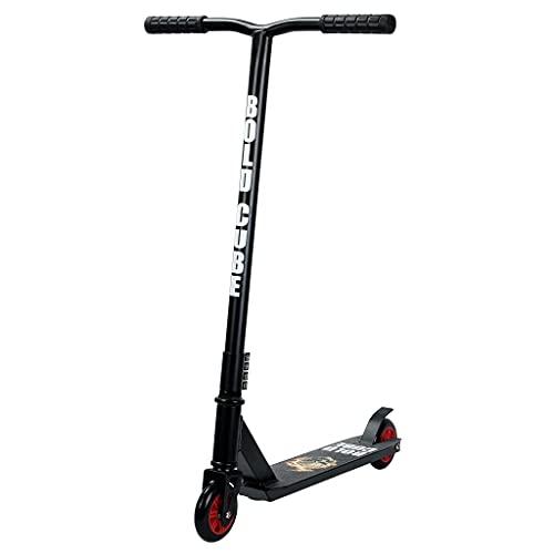 BOLDCUBE Freestyle Pro hulajnoga wyczynowa 360 stopni – mocny drążek – lekki aluminiowy deck – łożyska ABEC 7 – poczwórna klamra – dla dorosłych i dzieci (płomień i czaszka)