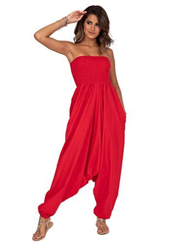 likemary Mono Largo Bandeau o pantalón Afgano de algodón 2 en 1 Rojo