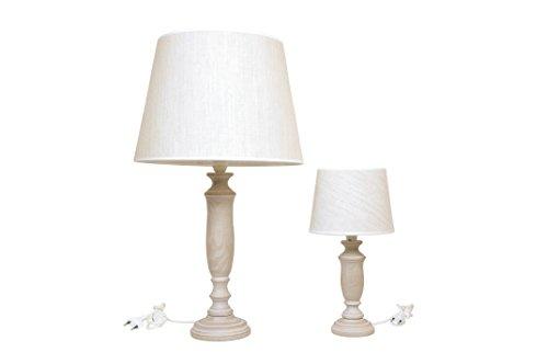 Deux grandes lampes + petite lampe de table en bois et abat-jour en coton, couleur taupe H. 65 et 40 cm