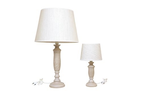 Set hanglamp GRANDE + tafellamp ABAT-JOUR van hout TORTORA met taupe van katoen Made in Italy hoogte 70 39 cm