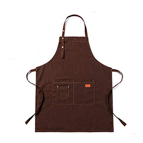 Meng Delantal Impremeable De Trabajo Unisex, Suave Yventilado para Cocina, Jardín, Cerámica, Taller De Manualidades (Color : Brown)