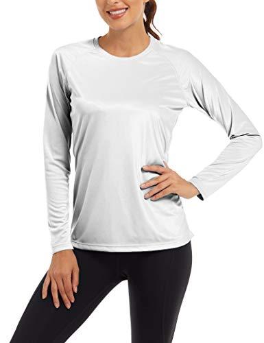Sonnenschutz Oberteil Langarm Laufshirt Damen UV-Schutz Rashguard UPF 50+ Hemd Leichte Workout Tops Surf Wasser T-Shirt Outdoor Wanderhemd Freizeit Urlaubs Hemd Sommer Shirt Weiß
