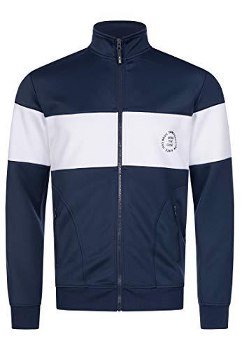 Indicode Herren Russell Sweatjacke m. Stehkragen | Bequeme Sportjacke Moderne College Jacke Trainingsjacke sportliche Herrenjacke Men Zipped Sweat Jacket Freizeitjacke f. Männer Navy M