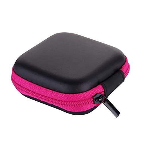 ZHOUSAN Caja organizadora de alambre para auriculares Mini cremallera de cuero duro bolsa de almacenamiento para auriculares caja de bolsa de cargador portátil cajas de tarjetas #Y10-rosa