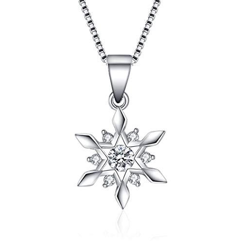 J.Vénus Damen Schmuck, Halskette Silber mit Schneeflocke Anhänger, 925 Sterling Silber Zirkonia, Kettenlänge 45cm