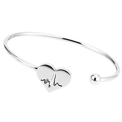 Nurse Bracelet ,Heart Beat Bracelet, Stethoscope Necklace Jewelry ,Nursery Graduation Gift, hospital Nurse Doctor Gifts (Bangle Silver)