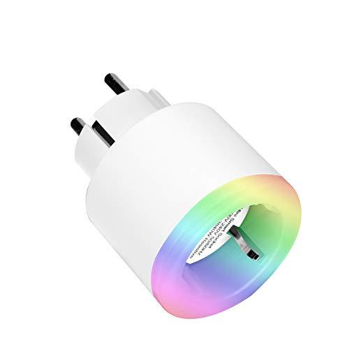 LTXDJ Smart WLAN Steckdose, alexa steckdose Smart Plug mit RGB Nachtlicht Kompatibel mit Alexa,Google Home zur Sprachsteuerung, Fernbedienung,Timerfunktion, auf NUR 2.4 GHz