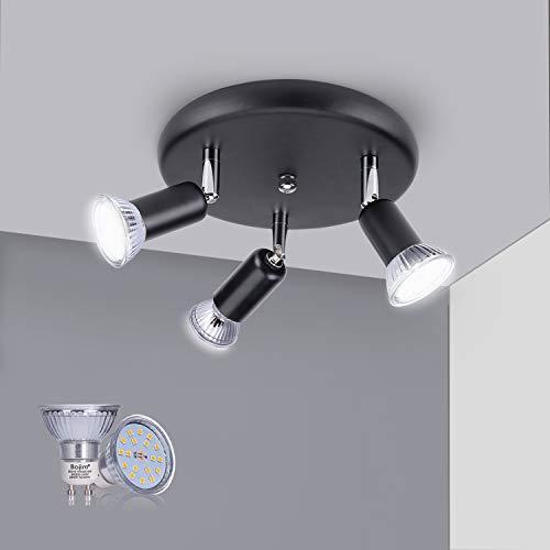 Bojim Lámpara de Techo, FocoTechoNegro Incluido 3 x 6 W Iluminante GU10 LED Blanco Natural 4500K, AC 220-240 V Ra 82 120°Ángulo IP 20 LamparasSalon, Lámpara plafón LEDPara Cocina