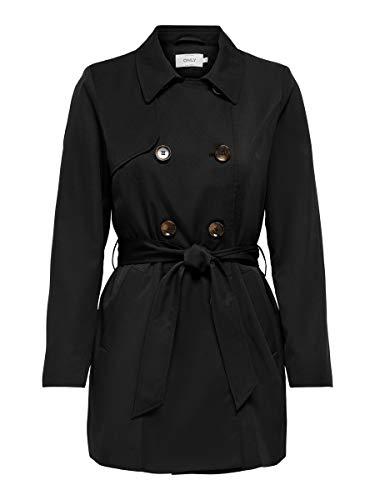 Only Onlvalerie Trenchcoat CC Otw Gabardina, Black, S para Mujer