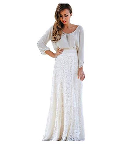 Gusspower Mujer Elegante Recta Larga Falda De Tutu De Tul Longitud Encaje Boho Maxi Faldas De Baile (Blanco, S)
