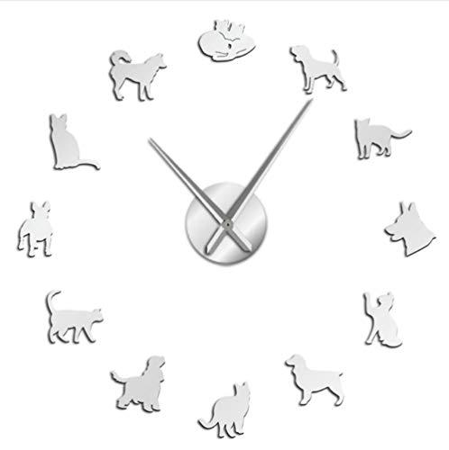 Perro Lindo Y Gato DIY Reloj De Pared Decoración para El Hogar Arte De La Pared Reloj Veterinario Reloj De Pared Amantes De Los Animales Veterinario Regalos Plata 47 Pulgadas