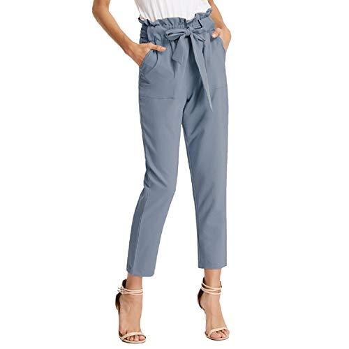 GRACE KARIN Donna Pantaloni Affusolati a Vita Elasticizzta Bodycon Slim Casual Decorato con Fiocco Blu Scuro S CL10903-9