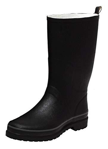 Zapato Damen Herren Stiefel Regenstiefel Outdoorstiefel Gummistiefel Rainboot Unisex SCHWARZ Gr. 41-46 (44 EU)