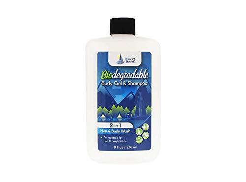 Biodegradable Shampoo & Body Wash 8 oz - 2-in-1 Hair & Body Wash, For Fresh & Salt Water, No Dies or Fragrances