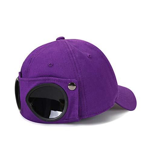 JIUYECAO Sombrero de aviador Gafas de sol Gorra de béisbol Púrpura Unisex Gafas de béisbol Cap Harajuku Hip Hop Gafas de sol sombrero pico