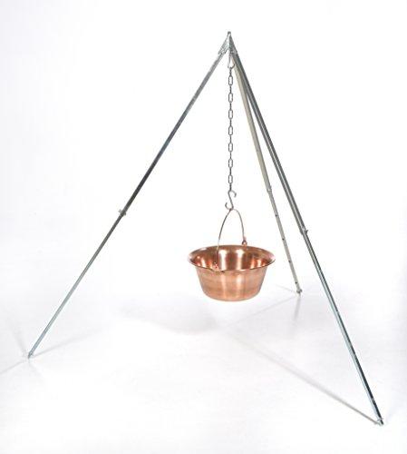 acerto Ungarischer Gulaschkessel (10 Liter) + Dreibein-Gestell (170cm) ✓ Kupfer ✓ Antibakteriell ✓ Hitzebeständig | Teleskop-Dreifuß mit Gulasch-Topf | Kupferkessel, Kochkessel für Kesselgulasch