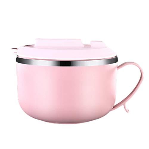 Heigmz Fh Bento Box - Fiambrera de acero inoxidable para fideos, cuenco para guardar alimentos, escuela, oficina, lonchera portátil, color rosa