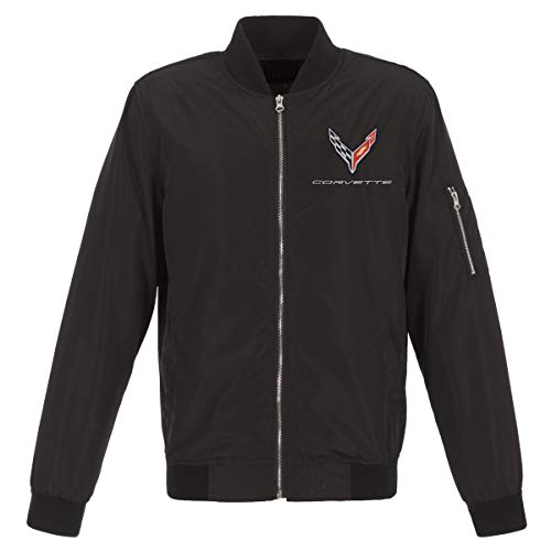 JH Design Group Mens Chevy Corvette C8 Emblem Lightweight Zip-Up Nylon Jacket (X-Large, Black)