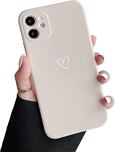 DEFBSC Hülle für iPhone 11, Einfach Stilvoll Matt Herzform Handyhülle,Ultra Dünn Weiche TPU Stoßfeste Schutzhülle mit Liebeherz Muster für iPhone 11 - Weiß