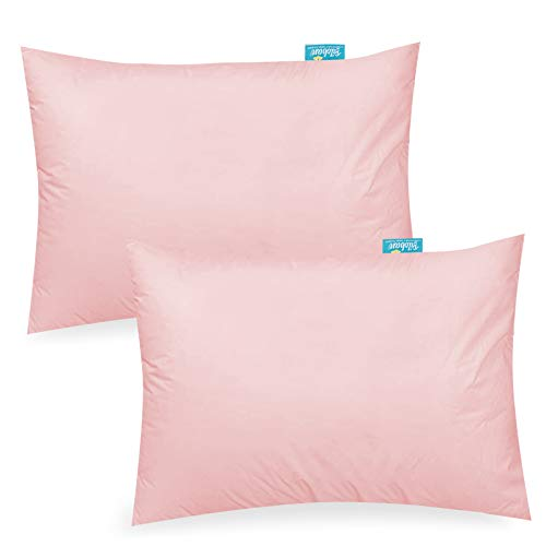 """Natural Travel Toddler Pillowcase 2 Pack for Girls -100% Organic Cotton Baby Pillowcase for Sleeping Fit Small Pillow for 12"""" x 16"""", 13"""" x 18"""", 14"""" x 19"""", Pink"""