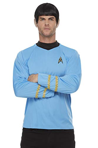 Smiffy's-Smiffys Officially Licensed Star Trek, Original Series Sciences Uniform ciencias con licencia oficial, color azul, L-Size 42'-44' 52339L