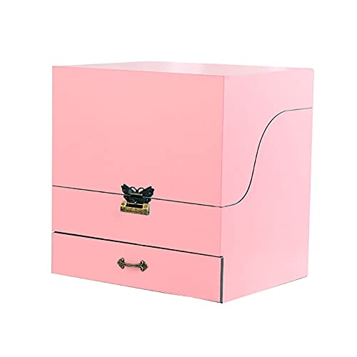 GCHH Holz Cosmeticdisplay Boxen Mirror Jewelrycel Case Cabinet, Organizer Mit Spiegel, 1drawers, Withatch Lock Foroffice, Zuhause, Schlafzimmer, Badezimmer, (pink)