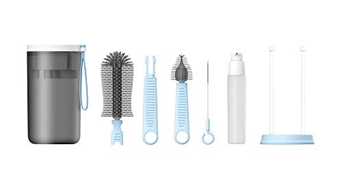 Cepillos y estante para biberones de viaje - Kit 6 en 1 para la limpieza de botellas (cepillos de silicona para uso alimentario, con tendedero / taza para la desinfección de inmersión (azul)