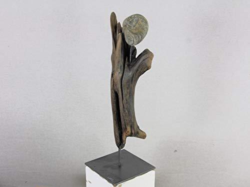 *Skulptur, Skulptur Treibholz, Kunst Figur aus Treibholz und Stein*
