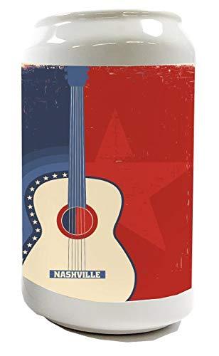 LEotiE SINCE 2004 Spardose Sparbüchse Geld-Dose Wiederverschließbar Farbe Weiß Star Gitarre Keramik Bedruckt