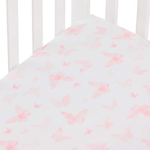 Andi Mae Crib Sheet - Watercolor Pink Butterflies - 100% Jersey Cotton - Fits Standard Crib or Toddler Mattresses