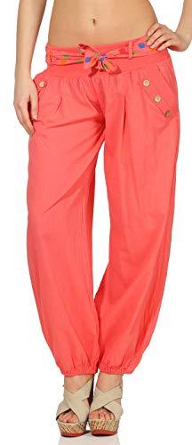 Malito Damen Pumphose in Unifarben | leichte Stoffhose | super Freizeithose für den Strand | Haremshose - lässig 3417 (Coral)