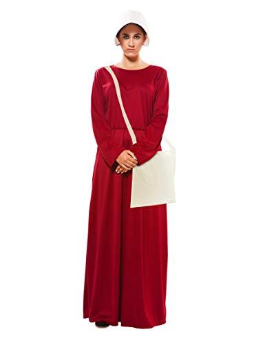 EUROCARNAVALES Disfraz de Vestido de Criada Granate para Mujer