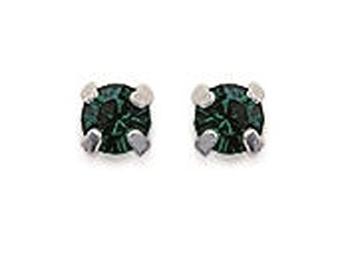 Pendientes de plata 925/000 y cristal verde esmeralda – 3 mm – Hombre mujer niño
