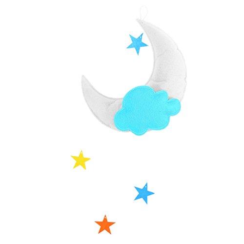 OULII Chambre couverture Mobile Nuages Lune étoiles suspendus décorations pour bébé douche bébé Chambre d'enfant (White Moon Green Cloud Multicolore Stars)