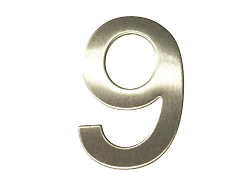 Asc - Número 9 ( Nueve ) - Acero Inoxidable Pulido Adhesivo Casa / Número de Puerta 10cm Alto