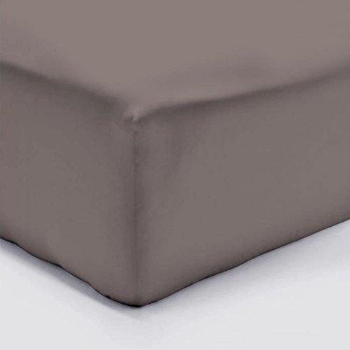 LINGE USINE Drap Housse 160 x 200 Taupe VERITABLE Percale DE Coton Bonnet 30 cm