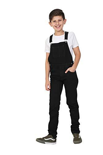 Wash Clothing Company jongens jeans broekje - zwart slim fit kinderen tuinbroek 4 6 8 10 12 14 jaar matzwart