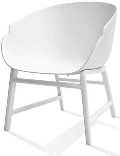 Alex Lounge- & Cocktail stoel / leesstoel woonkamerstoel lounge stoel – wit | PP kunststof geschikt voor binnen en buiten / tuinstoel outdoorstoel relaxstoel / retro design stoel voor lounge woonkamer wachtkamer en tuin