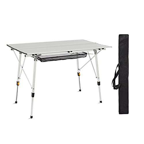 Mondeer Portable Folding Camping Table, Picnic Aluminum Table with adjustable height Aluminum Alloy Ultralight with Carry Bag for Outdoor, Garden BBQ, Picnic, Cooking, Indoor (120x70x78cm)