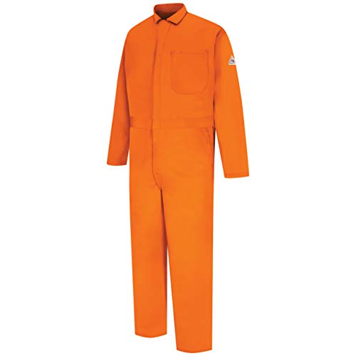 Bulwark Men's Flame Resistant 9 oz Twill Cotton Classic Coverall with Hemmed Sleeves, Orange, 46 Long