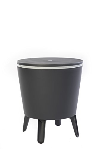 Keter Modern Cool Bar Outdoor Patio Furniture and Hot Tub Side Table with 7.5 Gallon Beer and Wine Cooler, Dark Grey