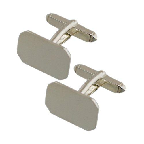 Boutons de manchette pivotantes plaine de coin couper 9ct or blanc de 18x12mm
