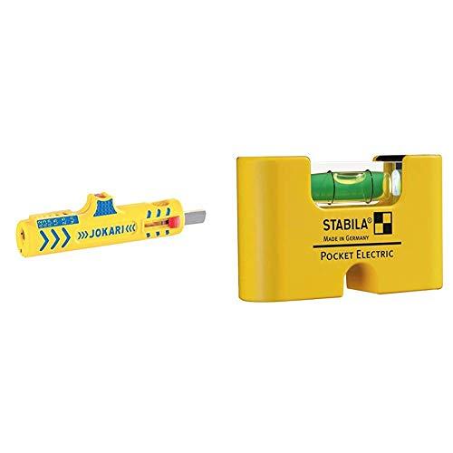 Jokari Secura Super Entmanteler No. 15 Neuheit & STABILA Wasserwaage Pocket Electric, 7 cm, mit Seltenerd-Magnetsystem