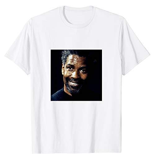 Twins LLC Denzel Washington Celebrity Portrait Movie Hollywood Actor Cinema Film Graphic Gift for Men Women Girls Unisex T-Shirt (White-L)