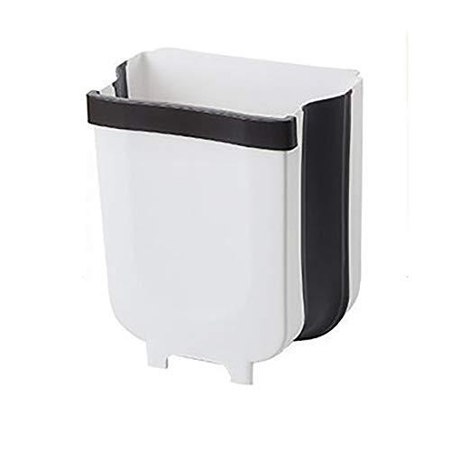 Cubo de basura Harddo para colgar, plegable, pequeño cubo de basura compacto en puerta de armario, cocina, cajón, dormitorio, salón, habitaciones, coche, cubo de basura fijado, blanco, pequeño
